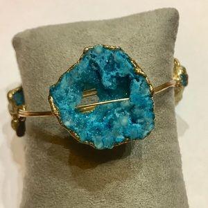 NEW Bourbon and Boweties Gold Blue Druzy Bracelet
